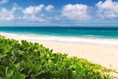 Playa hermosa de Waimanalo con agua de la turquesa y el cielo nublado fotografía de archivo