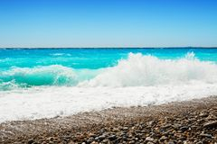 Playa hermosa en Niza, Francia foto de archivo libre de regalías