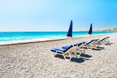 Playa hermosa en Niza, Francia fotografía de archivo libre de regalías