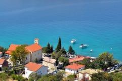 Playa hermosa en un día soleado. Playa de Lukovo, Croacia Fotografía de archivo libre de regalías
