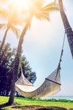 Playa hermosa Hamaca entre dos palmeras en la playa H Imagen de archivo libre de regalías