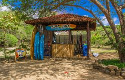 Playa hermosa, Mexico, May, 29, 2018: Outdoor view of gorgeous surf shack rental hut, located in a gorgeous caribbean royalty free stock image