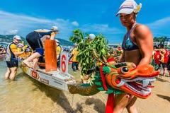 Playa Hong Kong de Stanley de la raza del festival de barcos de dragón Fotos de archivo libres de regalías