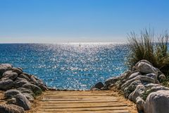Playa Ibiza de Cala Jondal Fotografía de archivo