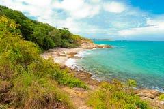 Playa idílica de la escena Imagenes de archivo