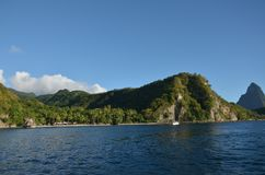 Playa ideal natural del Caribe St Lucia fotografía de archivo