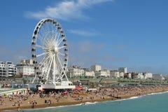 Playa Inglaterra de Brighton de la noria de Brighton Wheel Imágenes de archivo libres de regalías