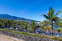 Playa Jardin and Teide Peak in Puerto de la Cruz, Tenerife Stock Photos