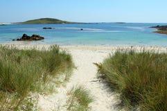 Playa juncosa en Bryher, islas de la bahía de Scilly. imágenes de archivo libres de regalías