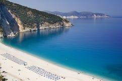Playa Kefalonia de Myrtos Imágenes de archivo libres de regalías