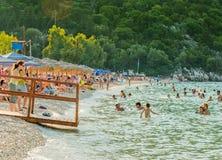 Playa Kefalonia Grecia de Antisamos Fotos de archivo