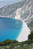 Playa Kefalonia Grecia de Myrtos Imagenes de archivo