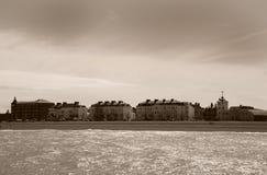 Playa Kent del reparto en sepia antigua fotos de archivo