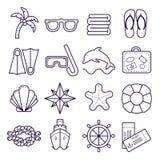 Playa, línea iconos del centro turístico Palma, gafas de sol, chancletas, máscara que se zambulle, cáscara y otros elementos del  stock de ilustración