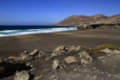 Playa la的Solapa,费埃特文图拉岛著名盐水湖 免版税图库摄影