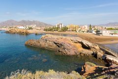 Playa la Pava beach Puerto de Mazarron Spain from the mirador viewpoint royalty free stock image