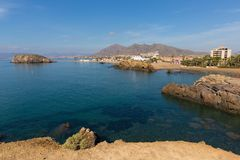Playa la Pava beach Puerto De Mazarron viewed from Cabezo de Gavilan stock photos
