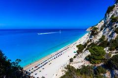 Playa Lefkada de Egremni Imagen de archivo