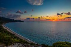 Playa Lefkada de Pefkoulia Fotografía de archivo libre de regalías