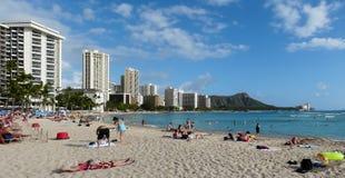 Playa legendaria de Waikiki Fotografía de archivo libre de regalías