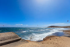 Playa Leocadio Machado with kitesurfers Royalty Free Stock Image