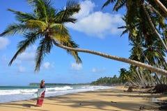 Playa LImon beach on Dominican Republic. Happy tourist on the Limon beach wild and hard to reach on the south coast of Dominican Republic Royalty Free Stock Photos