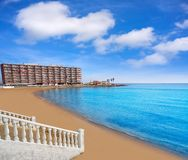 Playa los Locos wyrzucać na brzeg w Torrevieja w Hiszpania obraz royalty free