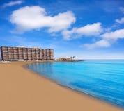 Playa los Locos wyrzucać na brzeg w Torrevieja w Hiszpania obraz stock