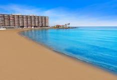 Playa los Locos wyrzucać na brzeg w Torrevieja w Hiszpania fotografia stock
