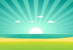 Playa más allá de los campos Fotografía de archivo libre de regalías