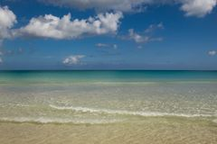 Playa Macao, Punta Cana, Dominican Republic: amazing public beach, crystal clear sea, tropical paradise; wonderful scenario,. Nobody around royalty free stock photography