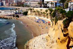 Playa Mal Pas beach, Benidorm, Spain. Benidorm, Spain. March 10, 2018. Taken from the Point, of holidaymakers enjoying the March sunshine on the small man made Stock Image