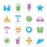 Playa, mar e iconos del día de fiesta Imagenes de archivo