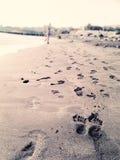 Playa, mar y huellas foto de archivo libre de regalías