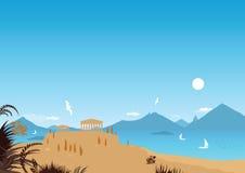 Playa mediterránea (vector) Fotografía de archivo libre de regalías