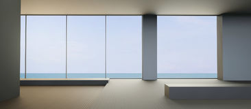 Playa moderna que vive asiento contemporáneo y limpio en la opinión del mar Fotos de archivo
