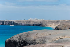 Playa Mujeres en Lanzarote, islas Canarias Fotos de archivo libres de regalías