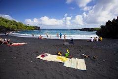 Playa negra de la arena Foto de archivo
