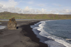 Playa negra de la lava Fotografía de archivo