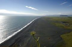 Playa negra en Islandia del sur. Fotos de archivo