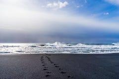 """Playa negra orilla de Océano Atlántico del †de Islandia """" Imagenes de archivo"""