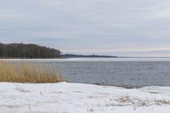 Playa nevada en el golfo de Finlandia cerca de St Petersburg Imagen de archivo