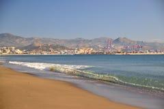 Playa occidental de Málaga foto de archivo