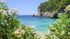 Playa Paleokastritsa en la isla Corfú, Grecia imagenes de archivo