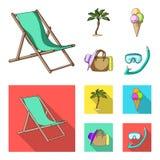 Playa, palmera, helado Iconos determinados de la colección de las vacaciones de verano en la historieta, ejemplo plano de la acci Fotos de archivo