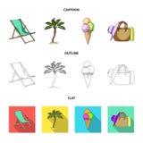 Playa, palmera, helado Iconos determinados de la colección de las vacaciones de verano en la historieta, esquema, acción plana de Fotos de archivo