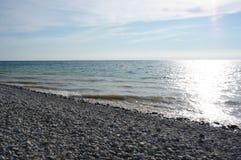 Playa pedregosa El lago Michigan, Glenn Arbor Fotos de archivo libres de regalías