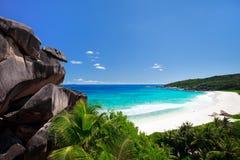 Playa perfecta en Seychelles Fotos de archivo libres de regalías