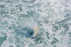 Playa Pier Jump Ocean Surfing de la tabla hawaiana de la persona que practica surf imagen de archivo libre de regalías