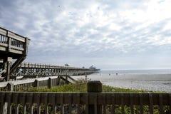 Playa Pier Right Side de la locura fotografía de archivo libre de regalías